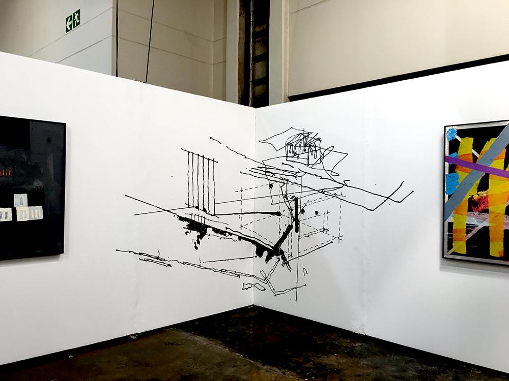 T  ogether , Acrylic ink mural, 2.6 m x 5 m FNB Joburg Art Fair,  David Krut Projects , 2016.
