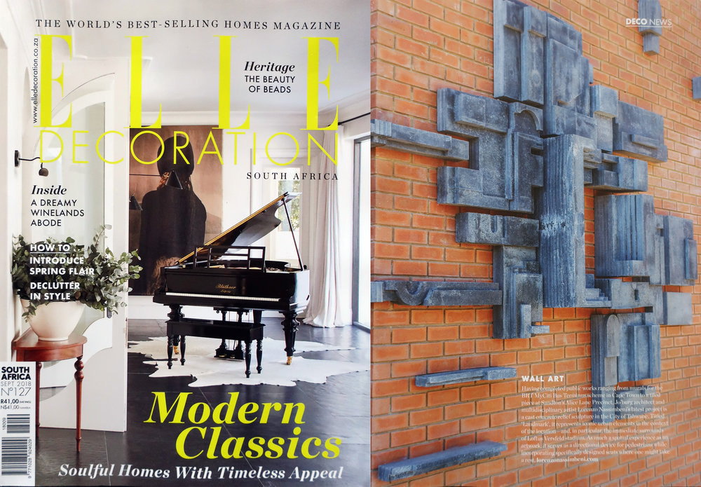 I am pleased to announce the publication of the Loftus Park sculpture, 'Landmark', in  Elle Decoration South Africa  . Thank you to the editorial team at Elle Decoration South Africa. Special thanks to curators and collaborators Liesl Potgieter and Brendan Copestake of  Parts & Labour , and to Abland Property Developers, who commissioned the project. Thanks too go to  Wolkberg Casting Studios  for their efforts in the fabrication of the piece, and to Marlet Odendaal and Markus Jordaan for support in the design process (3D render and technical drawing work). Photograph : Markus Jordaan    https://elledecoration.co.za/landmark-sculptures-at-loftus…/