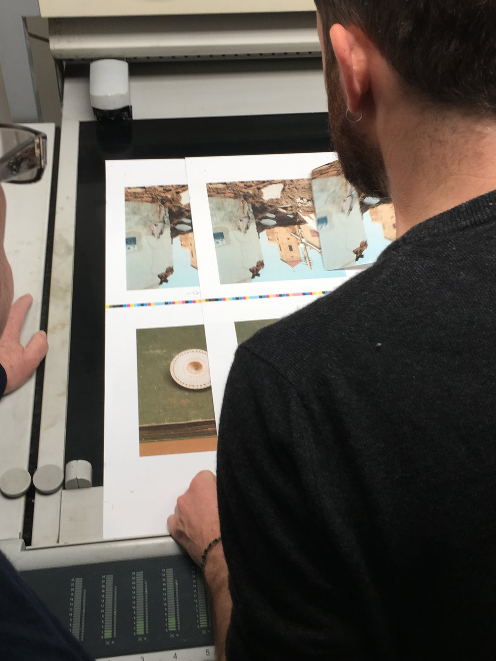 Federico checking colors during the production of the book