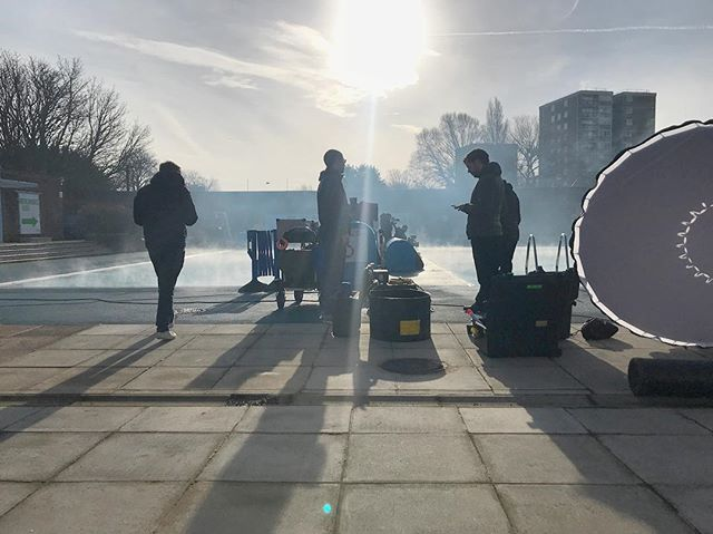 Morning. Silly o'clock at a lido. #lido #earlymorning #onlocation #steamy #gladimnotgettingin #lovelylight #production #crew #sillhouette #haze
