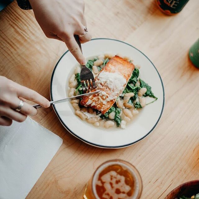 Seared Atlantic Salmon, cannelini beans, greens,  lemon crème fraîche — dinner, you're just beautiful.
