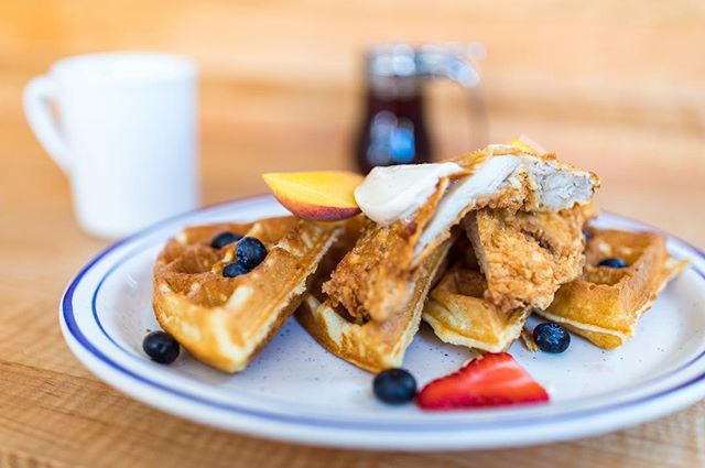 👏🏼👏🏼 Chicken. And. Waffles. 👏🏼👏🏼 House-made buttermilk waffle served with buttermilk brined & breaded Harrison's Boneless Chicken*, fresh fruit & house maple butter. 🙌🏼🙌🏼 Come get it!