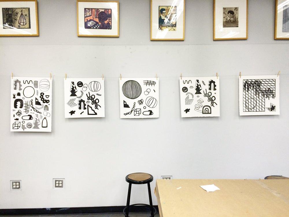 "monoprints, etching ink 22"" x 30"" and 22"" x 22""  2016 Fall Printmaking Studio, critique, UTT"