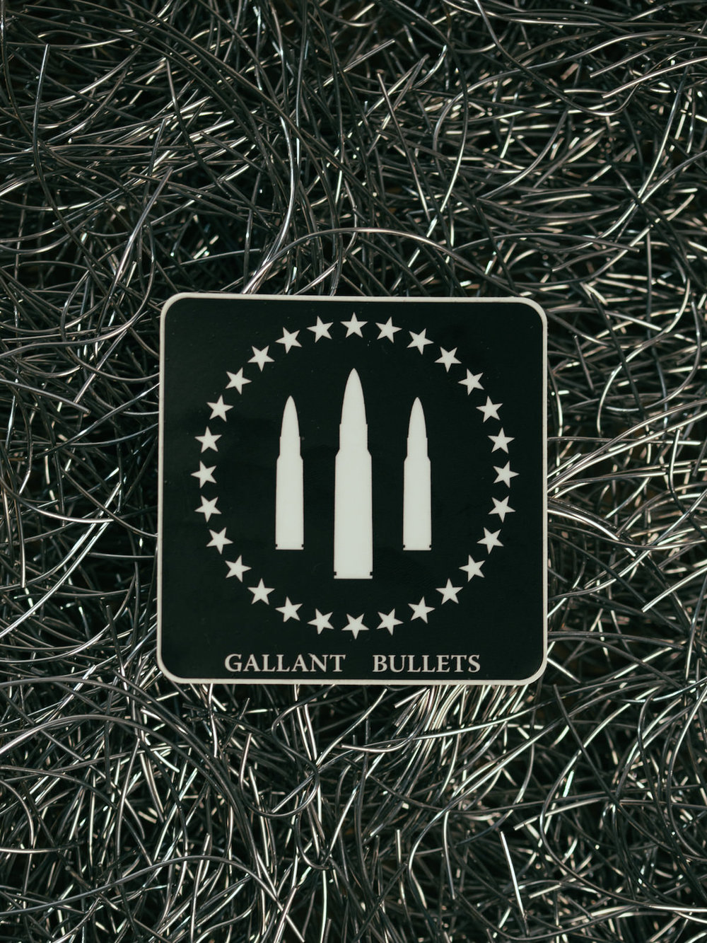 GALLANT BULLETS FIRST ORIGINAL LOGO WHITE ON BLACK STICKER