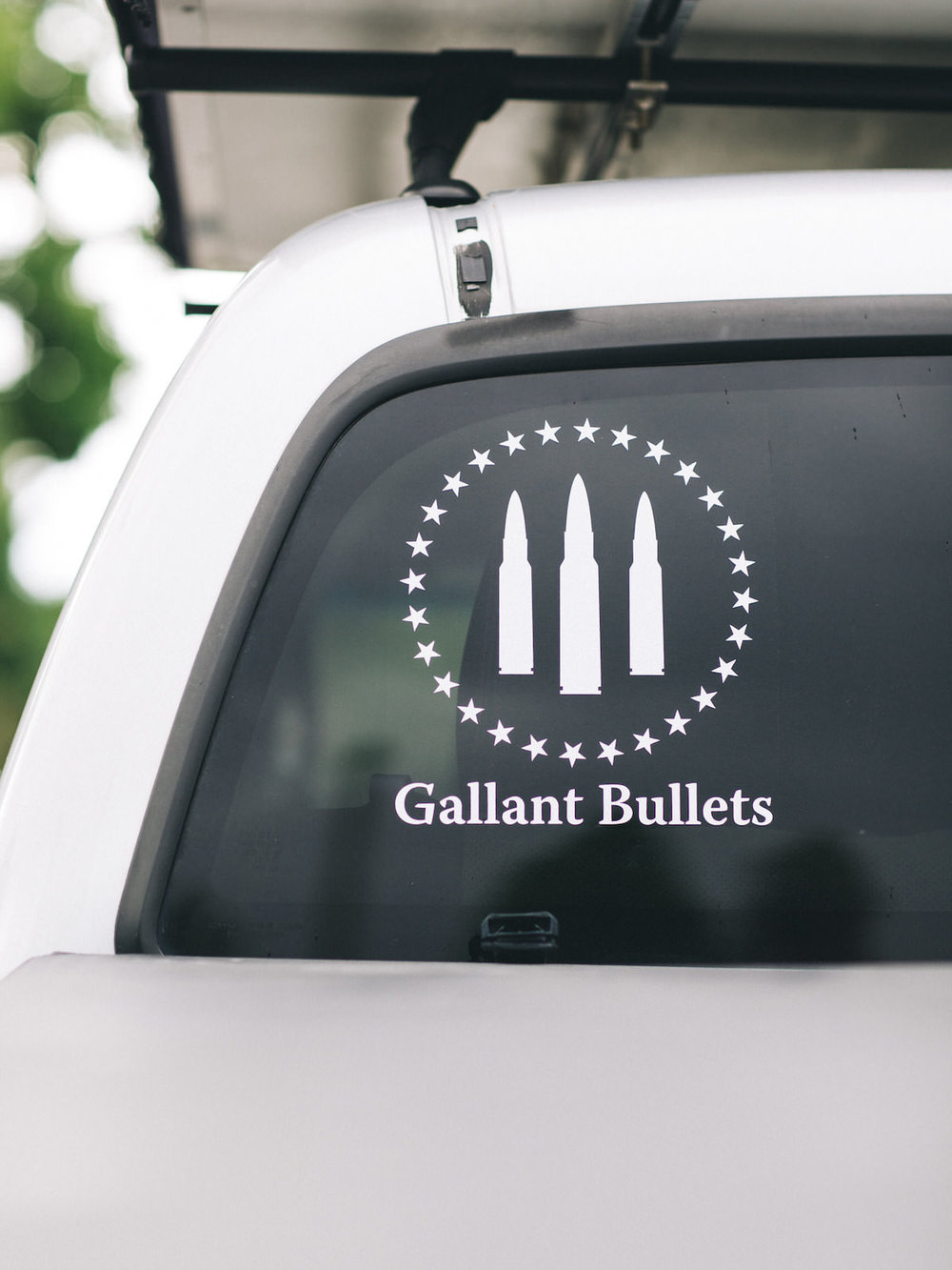 GALLANT BULLETS FIRST ORIGINAL LOGO and NAME WHITE DECAL