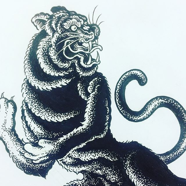 Did a little tattoo design job today for a friend of mine. Haven't really done any tattoo designs in many many years now, so it was fun getting back into that groove. #ink #tattoo #tattoodesign #illustration #drawing #inkonskin #tiger #tigertattoo #tigerdrawing #blacktattoo #bandw #blackandwhite #art #design #craft #paper