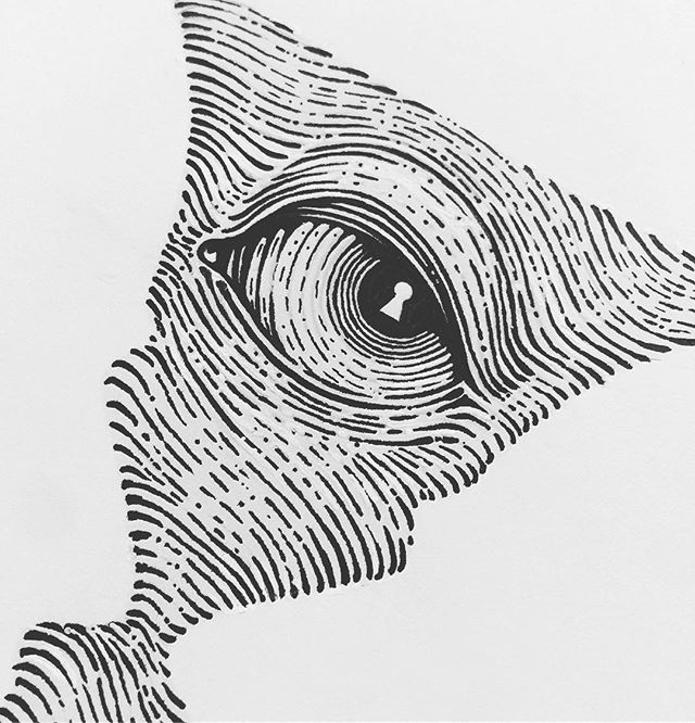 I spy with my little eye. #eye #spy #detail #pen #ink #illustration #drawing #gradient #crisp #linework #keyhole #blackandwhite #paper #inkonpaper #spy #retina #art #design #graphicdesign #craft #craftsmanship