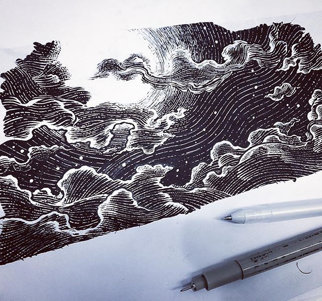 Its getting chilly out there folks. Stay warm. #drawing #illustration #chilly #cold #winteriscoming #moonlight #clouds #pen #paper #ink #b&w #blackandwhite #scratchboard #style #detail #linework #starysky #goodnight