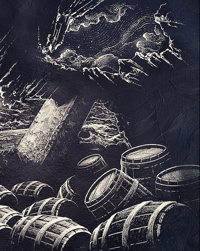 Chilly night skye and whisky barrels. Ink pen on paper and added textures #whisky #whiskybarrel #nightsky #illustration #art #drawing #blackandwhite #bandw #details #crosshatch #ink #linework