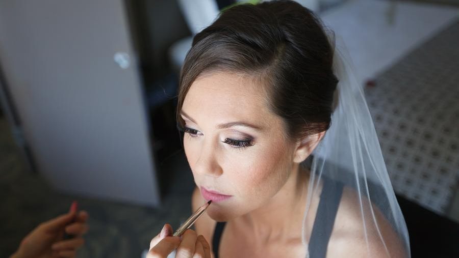 Wedding Hairstyle with Updo and Veil with Simple Makeup with Eyelash Extensions and Pink Lipstick. Bridal Beauty by Vanity Belle in Orange County (Costa Mesa) and San Diego (La Jolla)