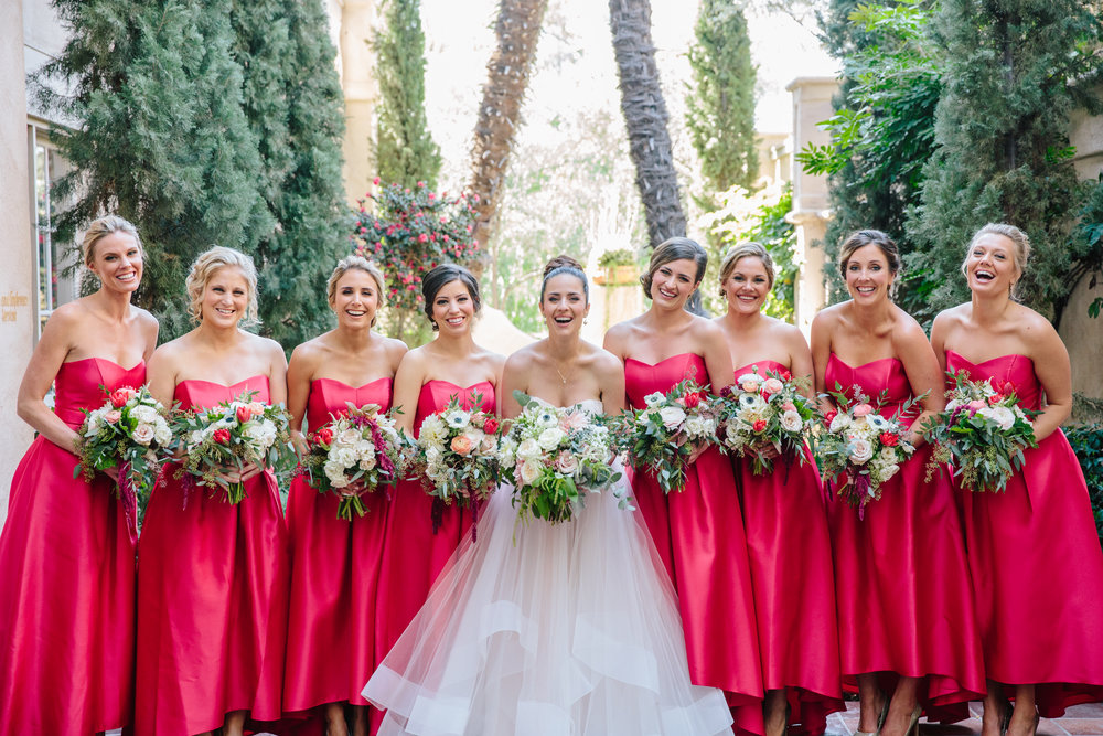 Red Bridesmaid Dresses with Bouquets and Updos