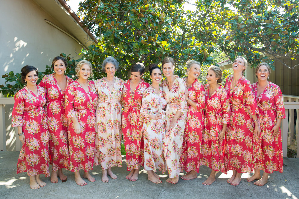 Morning of Wedding Bridal Party in Floral Robes