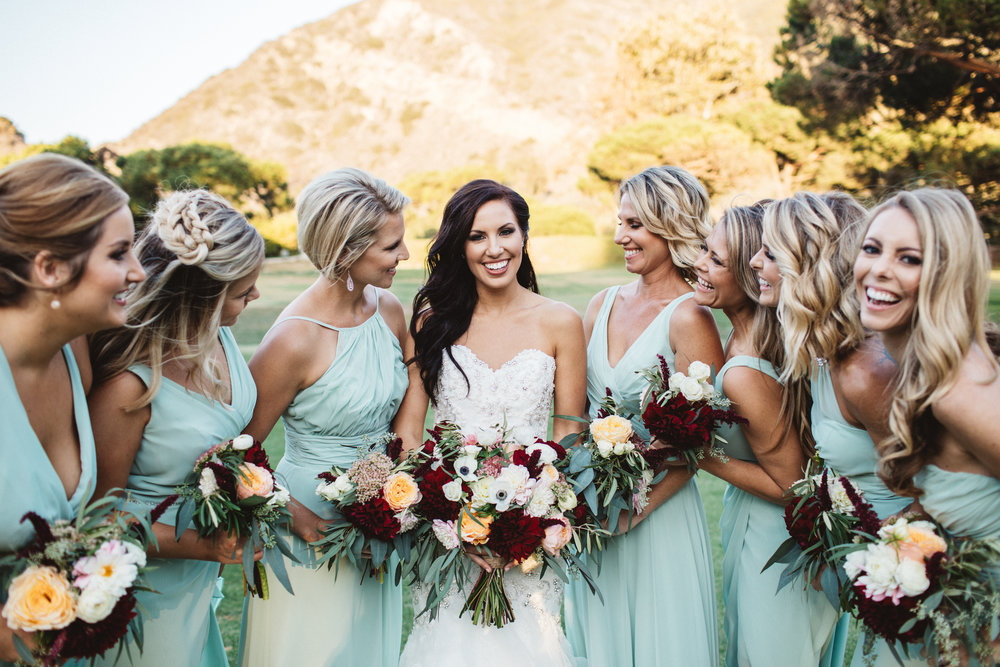 Wedding Bouquet Photos with Bridal Party Hairstyles and Makeup