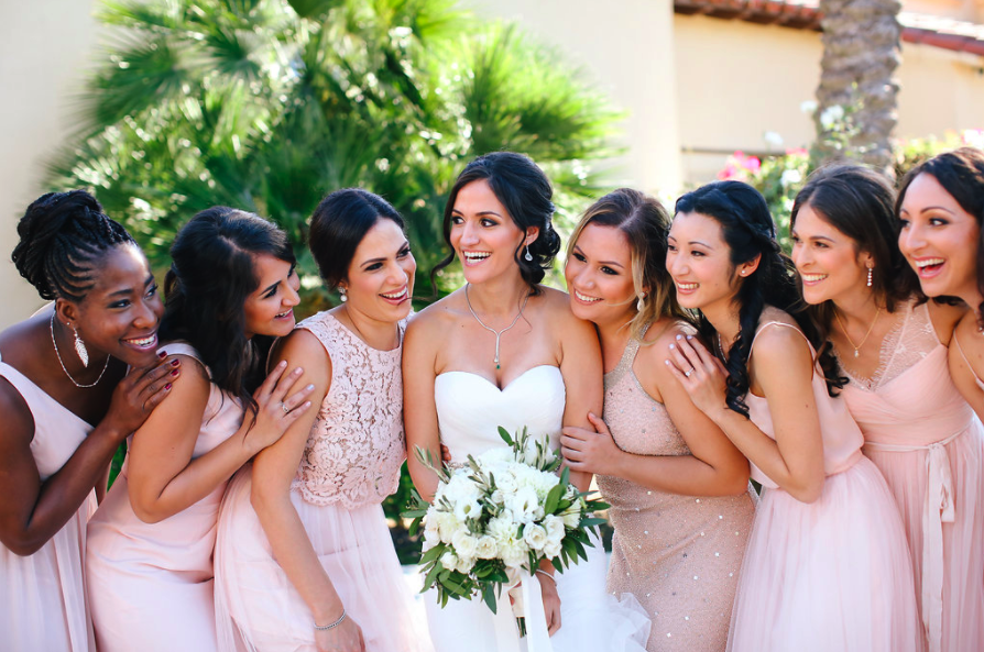 Fun Wedding Photos with Smiling Bridal Party with Hair and Makeup