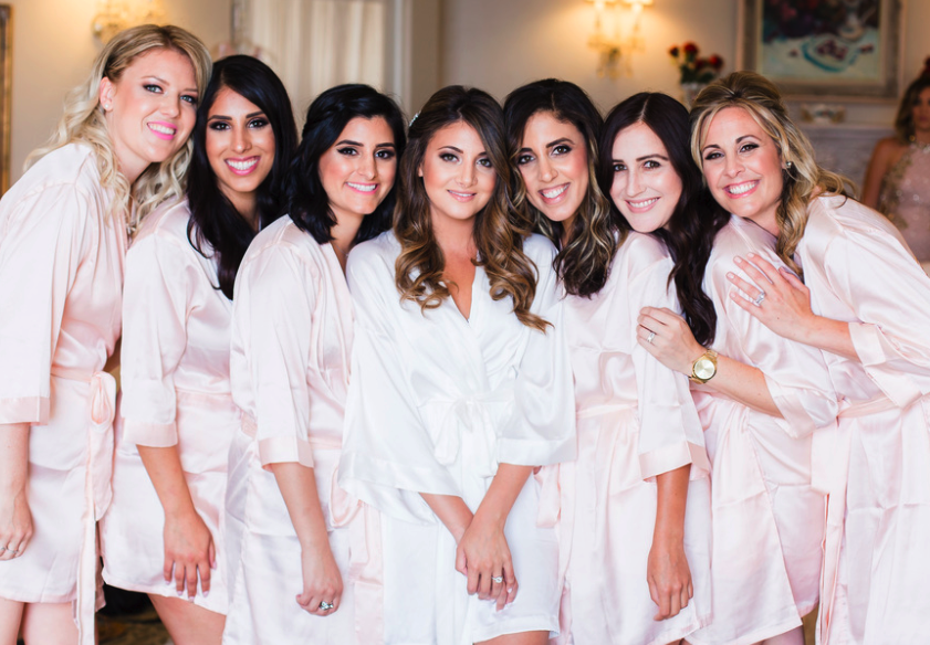 Morning of Wedding Pictures with Bridal Party in Silk Robes