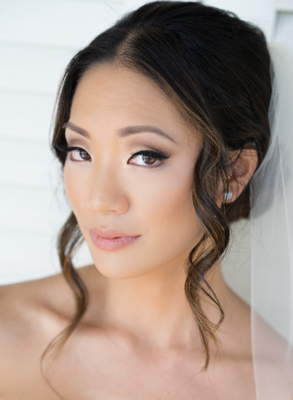 Asian Bridal Bpdo hairstyle and Makeup with Smokey Eye and Eyelash Extensions. Wedding Hair and Beauty by Vanity Belle in Orange County (Costa Mesa) and San Diego (La Jolla)