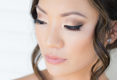 Asian Bridal hairstyle and Makeup with Smokey Eye and Eyelash Extensions. Wedding Hair and Beauty by Vanity Belle in Orange County (Costa Mesa) and San Diego (La Jolla)