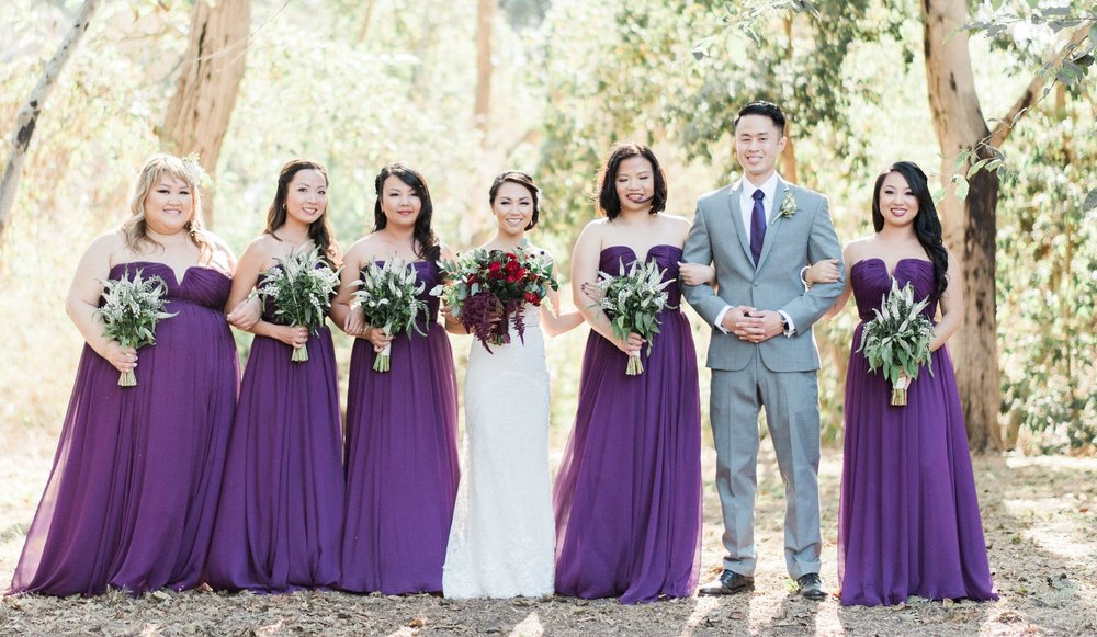 Wedding Pictures with Asian Bride and Bridal Party in Purple Dresses