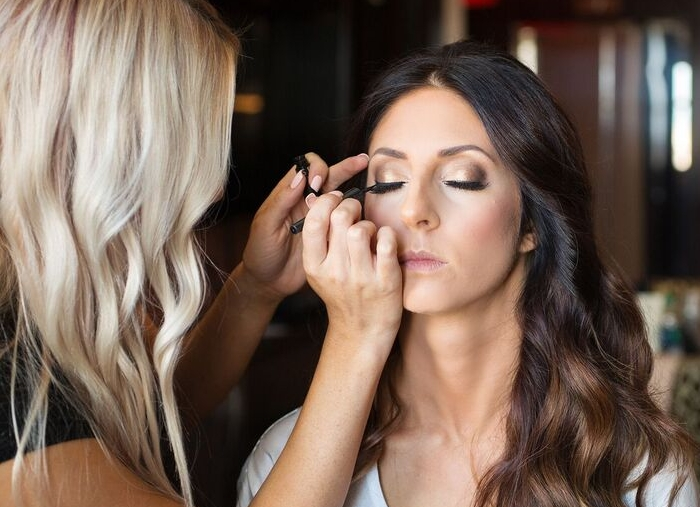 Brunette Bride Wedding Day Smokey Eye Makeup with Hair Down. Bridal Hairstyles and Beauty by Vanity Belle in Orange County (Costa Mesa) and San Diego (La Jolla)