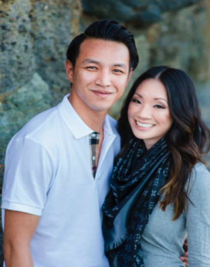 Engagement Photos of Asian Couple at Beach. Hair and Makeup done by Vanity Belle in Orange County and San Diego
