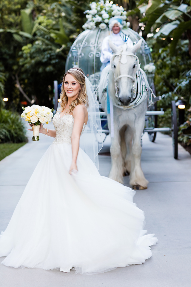 Fairy Tale Wedding Photography with Bride and Cinderella Carriage. Bridal Hair and Makeup by Vanity Belle in Orange County (Costa Mesa) and San Diego (La Jolla)