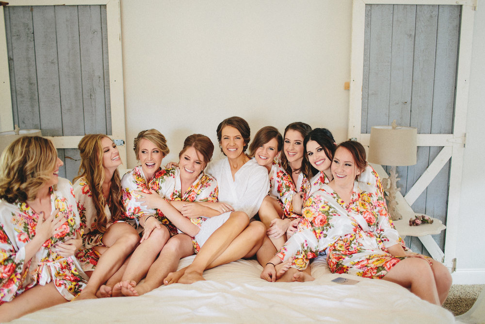 Fun Morning of Wedding Photos with Bridal Party in Floral Robes
