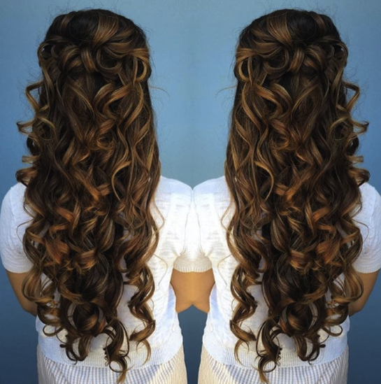 Long Hair with Curls Half Up style