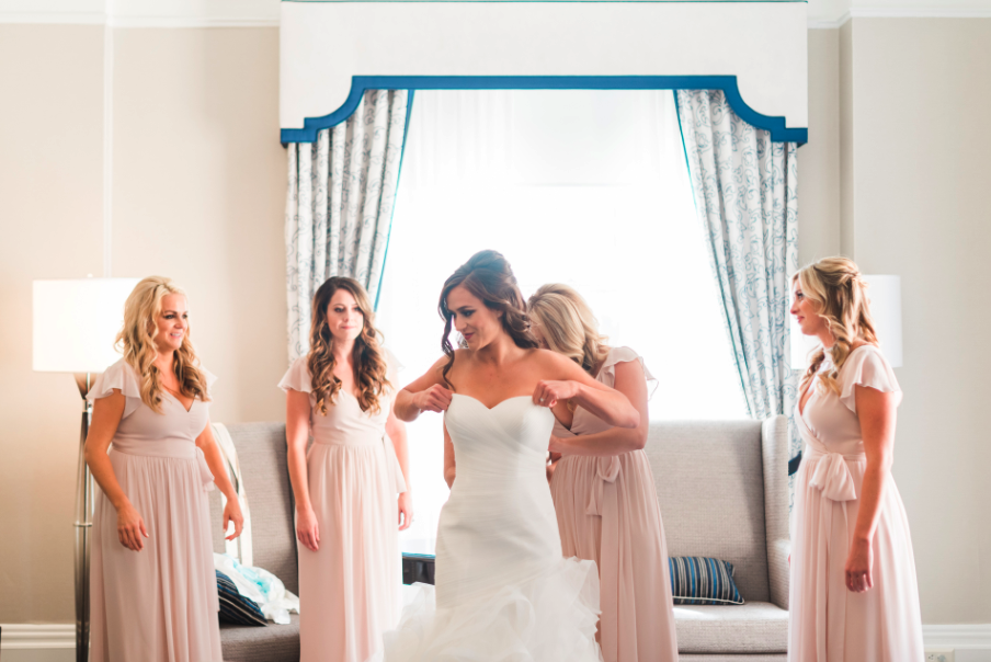 Before Wedding Photos with Bride and Bridesmaids Inside. Bridal hair and makeup by Vanity Belle in Orange County (Costa Mesa) and San Diego (La Jolla)