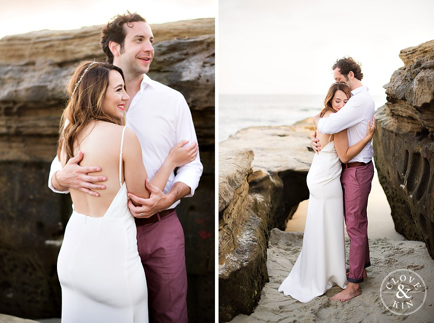 Wedding Photography at Beach with Brunette Bride wearing Headband holding Bouquet Hugging husband. Bridal Hair and Makeup by Vanity Belle in Orange County (Costa Mesa) and San Diego (La Jolla)