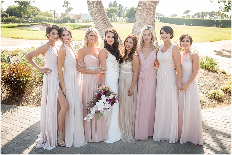 Make it POP like pink champagne! We are loving the romantic pink palette on the Bridal party.A mix of neutrals like taupe, eccru, blush and champagne create a stunning look that is sure to stand out.