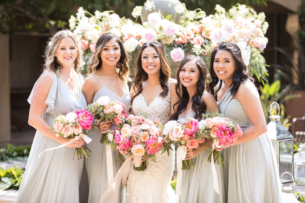 What a beautiful Bridal Party! We love how each Bridesmaid wore their hair with a different partial-up style similar to the Bride.