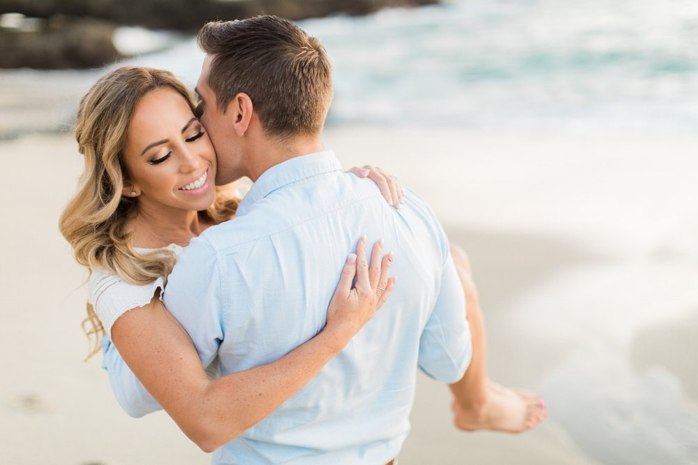 Romantic Engagement Photo Shoot at Beach. Hair and Makeup by Vanity Belle in Orange County (Costa Mesa) and San Diego (La Jolla).