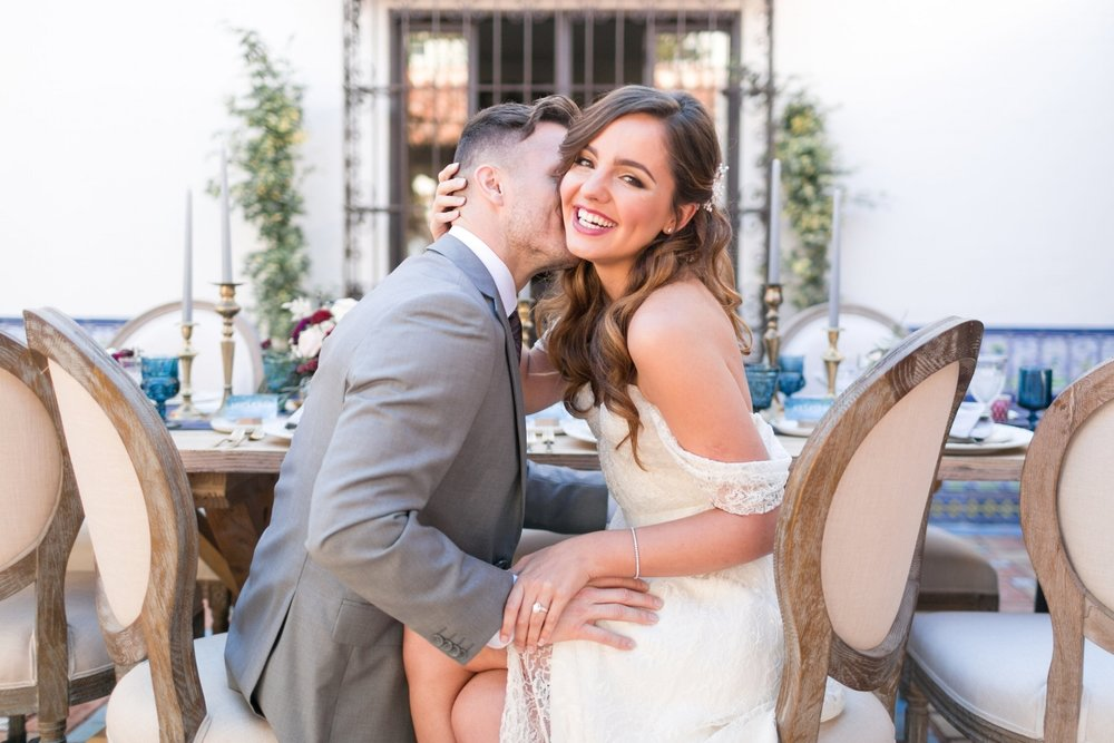 Wedding Photos with Brunette Bride. Long Hairstyle and Natural Makeup. Bridal Beauty by Vanity Belle in Orange County (Costa Mesa) and San Diego (La Jolla)