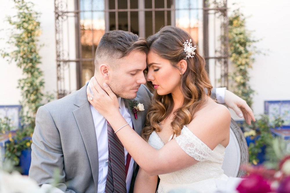 Wedding Photos with Brunette Bride. Long Hairstyle with hair accessory and Natural Makeup. Bridal Beauty by Vanity Belle in Orange County (Costa Mesa) and San Diego (La Jolla)