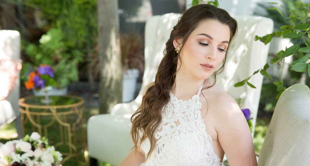 Wedding photography with brunette bride and brown eye makeup. Long bridal hairstyle and natural beauty by Vanity Belle in Orange County (Costa Mesa) and San Diego (La Jolla)