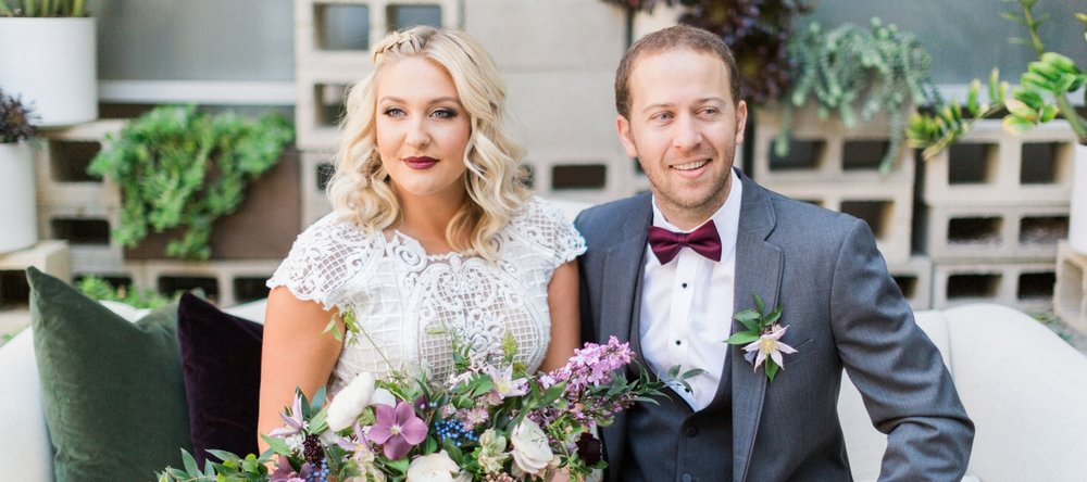 Blonde Wedding Photos with Braided Curled Hair Down and Brick Red Lipstick. Bridal Hairstyles and Makeup by Vanity Belle in Orange County (Costa Mesa) and San Diego (La Jolla)