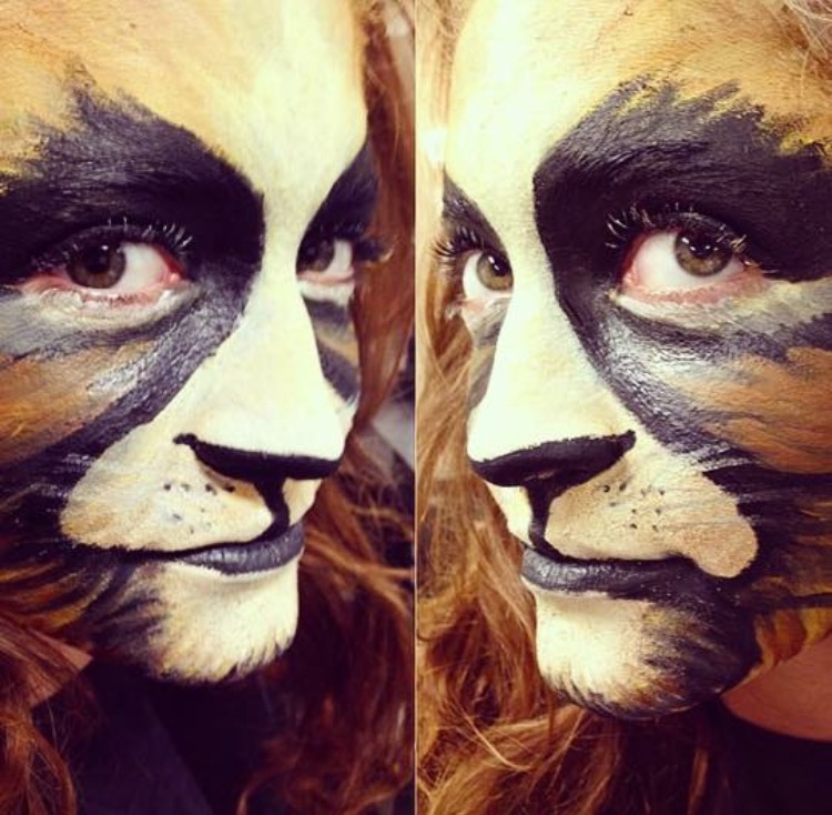 "A ferocious cat by our VB artist, Amanda, along with some of her techniques and tips.  Technique to get this look: ""I like to use Sanazaroo face paints first and then I use the naked palette to blur details so that they will look more realistic.""  Artist Tip: ""Use coconut oil first when removing any Halloween makeup. Then always cleanse the face afterwards to prevent getting any clogged pores."""