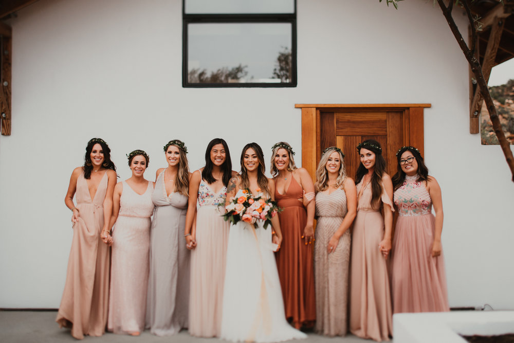 Pink and champagne, bridesmaids, Asian wedding, wedding hair, wedding makeup, wedding inspiration, wedding goals, best friends, sister friends, bridesmaids dresses. Bridal Hair and Makeup by Vanity Belle in Orange County (Costa Mesa) and San Diego (La Jolla)