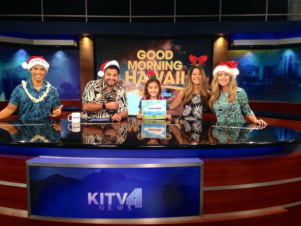 Weathercaster Jordan Segundo, anchor Maleko McDonnell, Olivia, anchor Lindsey Fukano, morning reporter Mackenzie Stasko.