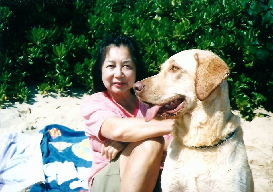 1998, Mom and Kona, Kahala Beach. Kona died, too. I hope they're reconnected in the afterlife.