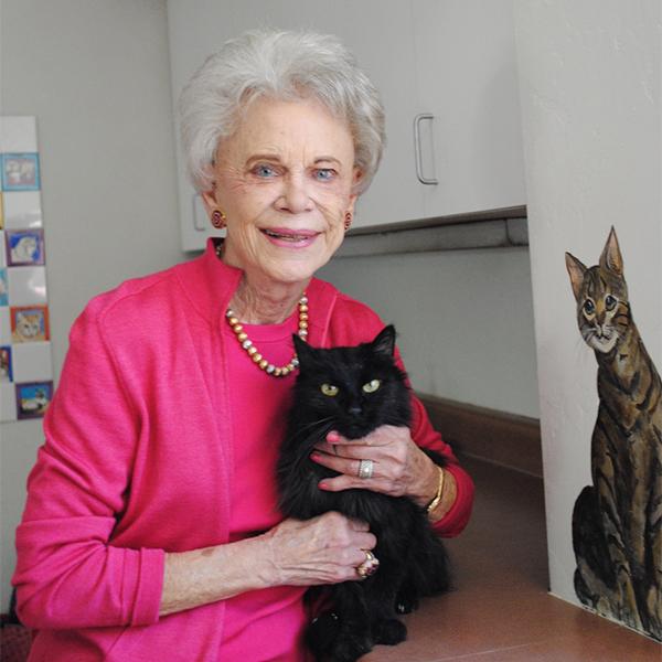Ellen Roeser & shelter cat Hocus