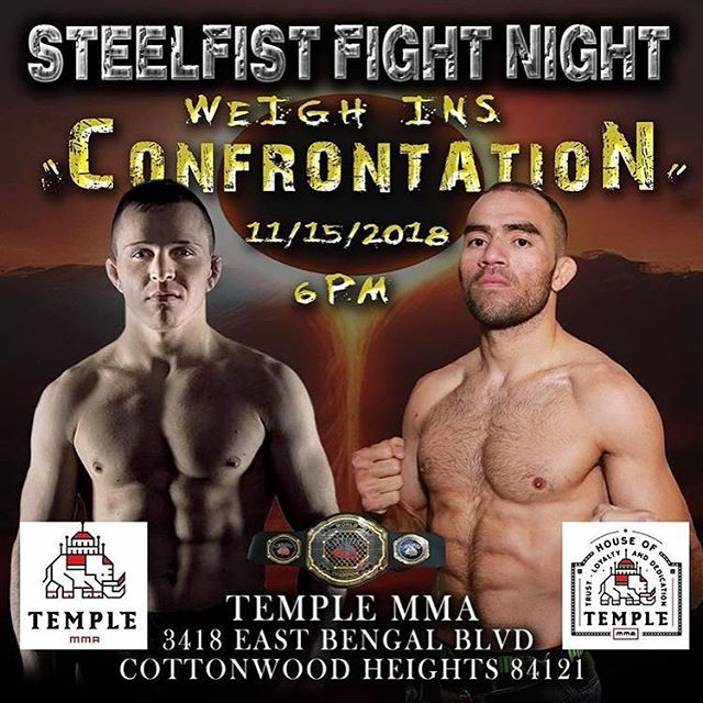 No classes on Thursday evening, we will be hosting @steelfistfight official weigh ins at 6:00 pm.  Come check out your favorite local fighters tip the scales and get one last stare down before their Friday night fights.  Good luck to our boys @jruiz_mma and @marcoj.sanchez 👊🏼 #titledefense #steelfistfightnight #mmafighter #mma #mixedmartailarts #utahmma #mmatraining #utahfighter #utahtrainer #saltlakecity #cottonwood #cottonwoodheights #utahbjj #utahjiujitsu #wasatchmountains #wasatchfront #muaythai #jiujitsu #wrestling #boxing