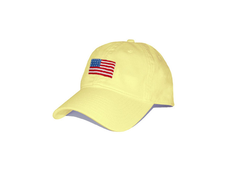 d9112f35 American Flag Needlepoint Hat in Yellow