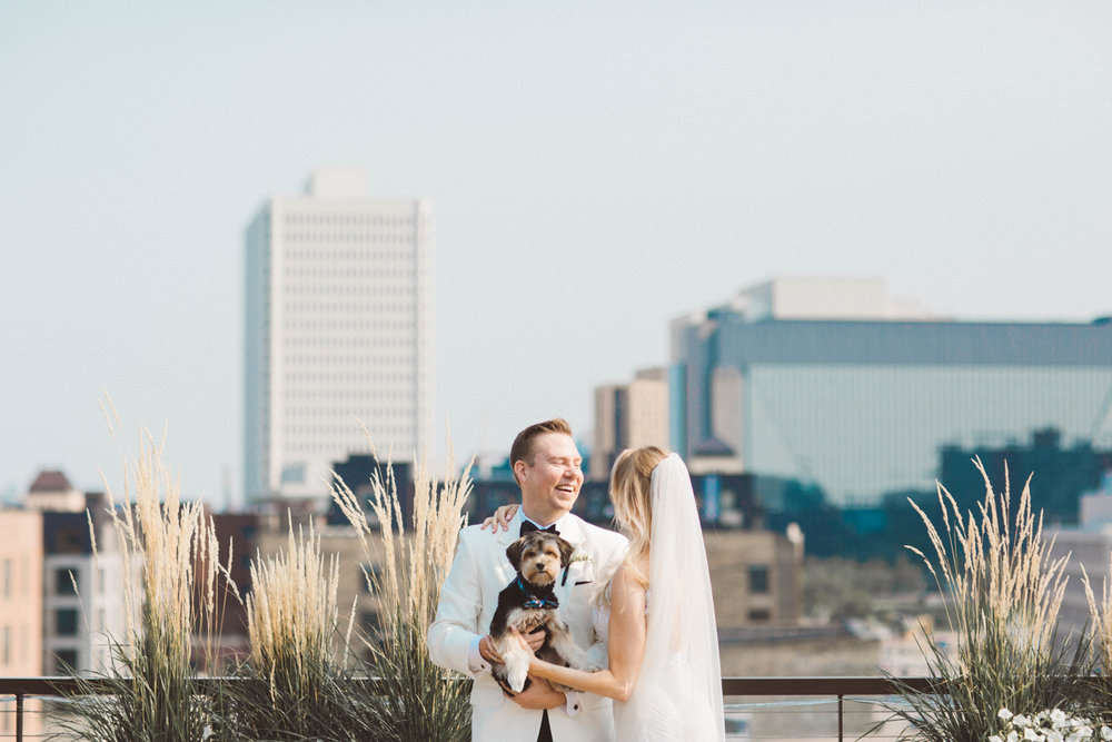 Fine art first look with dog in Minneapolis Wedding Photography at the Hewing Hotel