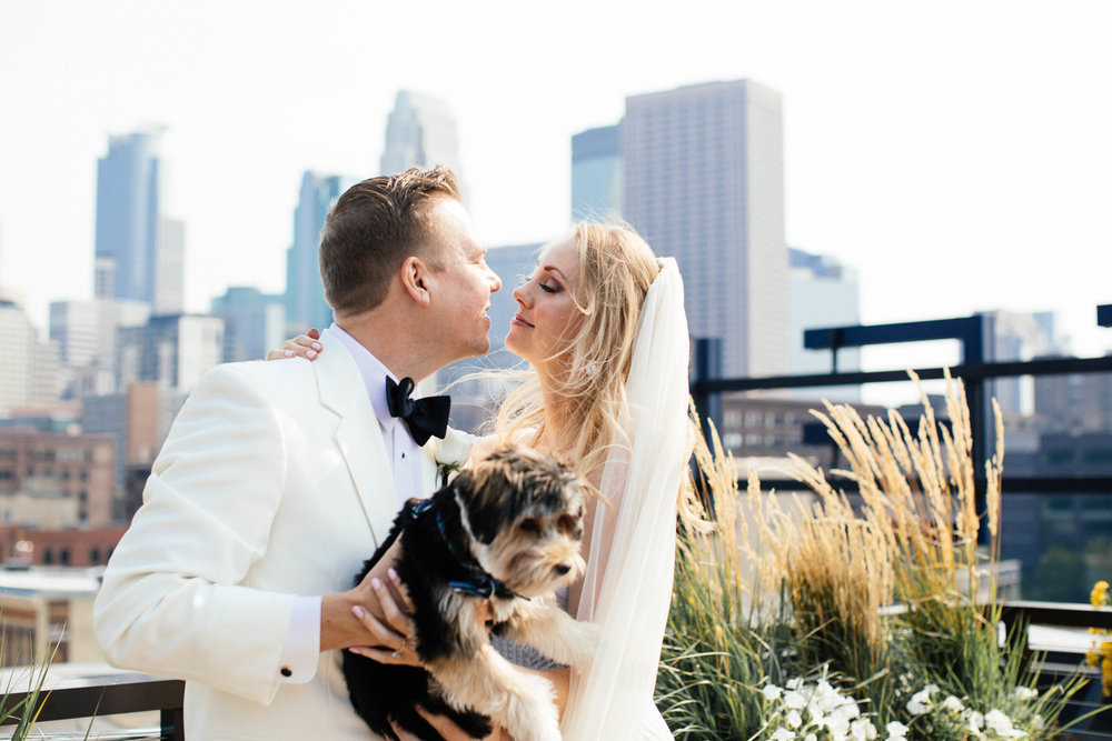 Fine art Minneapolis Wedding Photography at the Hewing Hotel with dog