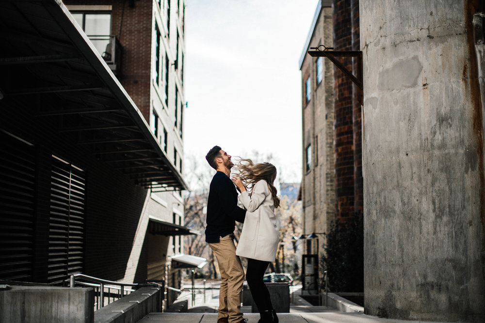 jumping bride engagement shot in Minneapolis