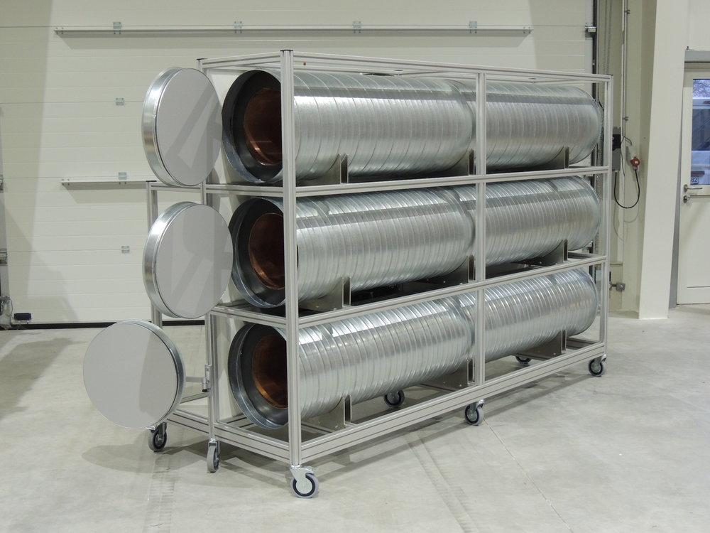 Einrichtung zur Messung und Prüfung der Wärmeleitfähigkeit von Wärmedämmungen für Rohrleitungen nach DIN EN ISO 8497.