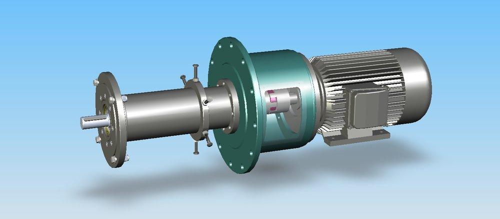 Vakuumdichte Durchführung einer Ventilator-Antriebswelle in einen Prüfbehälter von -70°C bis +120°C