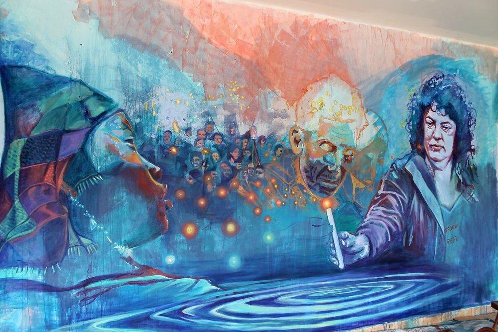"""Luz de Berta Cáceres, PRESENTE!"" 19x10ft mural by Alicia Maria Siu"