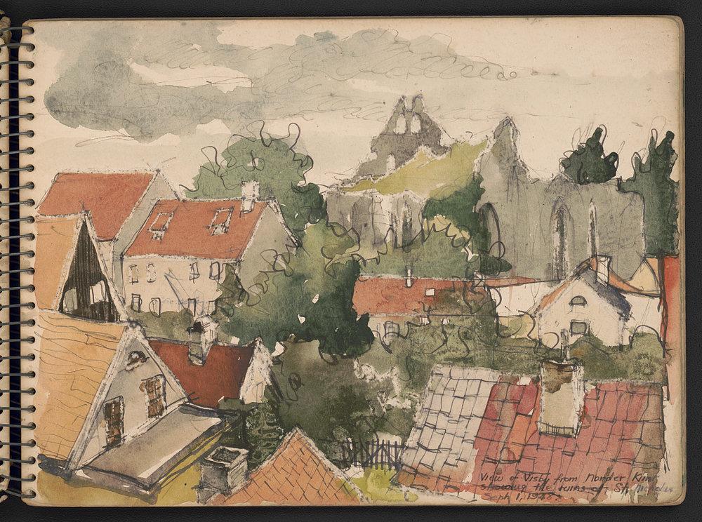 """ruins of St. Nicholas."" Sketch is one of the last entries in sketchbooks."